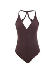 Rick Owens Backless Jersey Swimsuit Burgundy