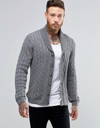 Asos Shawl Neck Cable Cardigan In Wool Mix Charcoal Grey