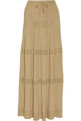 M Missoni Pleated Metallic Crochet Knit Maxi Skirt