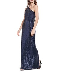 Ralph Lauren Sequin One Shoulder Gown Navy Shine