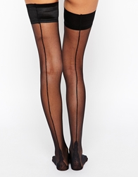 Pretty Polly Flirty Back Seam Hold Ups Black