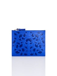 Shanghai Tang Ginkgo Embossed Leather Flat Pouch Royal Blue