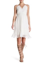 Hale Bob Halter Embroidered Woven Knit Silk Dress White