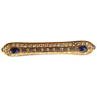 Alice Joseph Vintage Givenchy Gold Plated Cabochon Glass And Diamante Crystal Bar Brooch Sapphire Blue Clear
