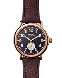 Shinola 41Mm Runwell Men's Textured Leather Watch Rose Golden Oxblood