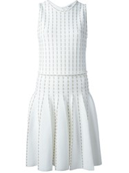 Blugirl Embroidered Knit Pleated Dress White