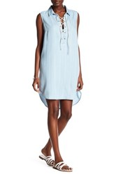Beach Lunch Lounge Lace Up Tank Dress Blue