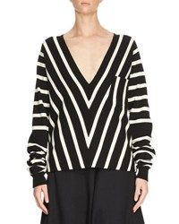 Chloe Chevron V Neck Knit Top Black White