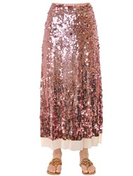 Tory Burch Cove Sequin Embroidered Mesh Midi Skirt