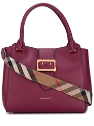 Burberry Buckled Closure Tote Pink Purple