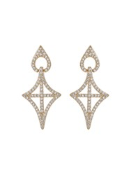 Mikey Gothic Cross Oval Cubic Drop Earring Metallic