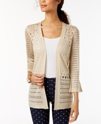 Charter Club Petite Open Stitch Cardigan Created For Macy's Sand