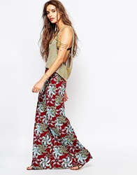 Native Rose Maxi Skirt In Tiger Lily Print Multi