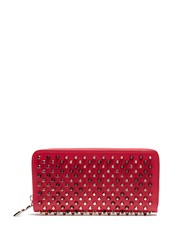 Christian Louboutin Panettone Spike Embellished Leather Wallet Pink Multi