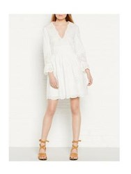 Red Valentino Redvalentino Broderie Plunging Neckline Dress White