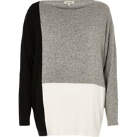 River Island Womens Plus Grey Colour Blocked Batwing Top