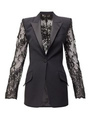 Alexander Mcqueen Lace Panel Single Breasted Crepe Jacket Black