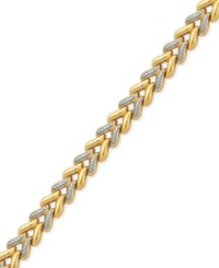 Macy's Diamond Accented Two Tone Chevron Bracelet In Sterling Silver And 18K Gold Plated Sterling Silver