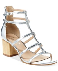Nanette Lepore By Rebecca Strappy Block Heel Sandals Only At Macy's Women's Shoes Silver
