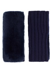 Yves Salomon Rabbit Fur Panel Wool Cashmere Knit Fingerless Gloves Blue