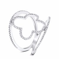 Cosanuova Spring Diamond Ring 18K White Gold Silver
