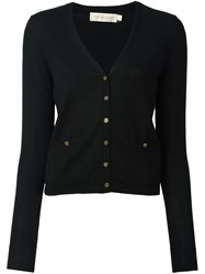 Tory Burch Logo Button Cardigan Black