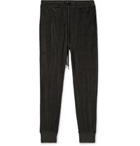 Tom Ford Slim Fit Tapered Cotton Blend Velour Sweatpants Green