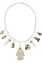 Melissa Joy Manning 14 Karat Gold And Sterling Silver Multi Stone Charm Necklace