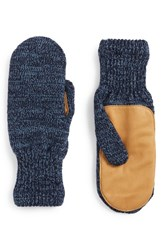 Men's Upstate Stock 'Ragg' Wool Blend Knit Mittens With Deerskin Leather Trim Blue Natural Powder