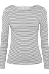 Frame Striped Stretch Modal Blend Jersey Top White