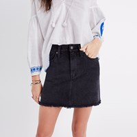 Madewell Mccarren Raw Hem Jean Skirt In Washed Black