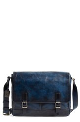 Men's Frye 'Oliver' Leather Messenger Bag Blue Navy