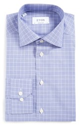Eton Men's Big And Tall Contemporary Fit Plaid Dress Shirt Blue