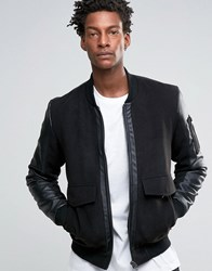 Asos Bomber Jacket With Leather Look Panels In Black Black