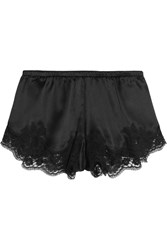 Dolce And Gabbana Lace Trimmed Stretch Silk Blend Satin Briefs Black