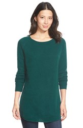 Petite Women's Halogen Shirttail Wool And Cashmere Boatneck Tunic Teal Deep