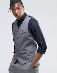 Asos Skinny Waistcoat In Cotton With Military Styling In Grey Grey