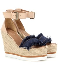 See By Chloe Leather And Denim Wedge Espadrille Sandals Blue