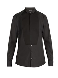 Dolce And Gabbana Gold Fit Double Cuff Cotton Dinner Shirt Black