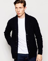 Barbour Cardigan With Cable Knit Navy