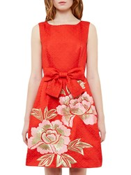 Ted Baker Regal Romance Deemey Skater Dress Bright Orange
