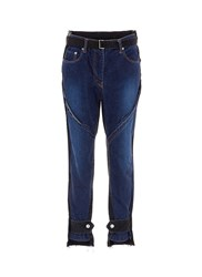 Sacai Belted Cuff Epaulette Patchwork Jeans Blue