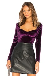 Thistle And Spire Reeve Velvet Bodysuit Purple
