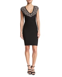 Herve Leger Floral Lace V Neck Bandage Dress Black Combo