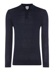 Linea Thames Merino Long Sleeve Polo Blue