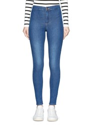 Topshop 'Joni' High Waisted Skinny Denim Pants Blue