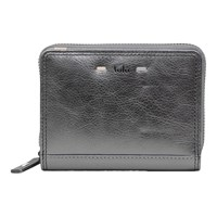 Tula Violet Leather Small Zip Around Wallet Purse Silver