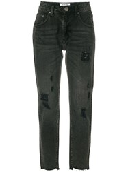 One Teaspoon Distressed Cropped Jeans Grey