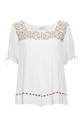 Great Plains Morocco Stitch Embellished Top White