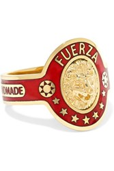 Foundrae Strength 18 Karat Gold And Enamel Ring 6
